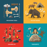 Stone Age Flat. Color flat composition with title depicting prehistoric tools caveman life ancient world troglodyte  vector illustration Stock Photos
