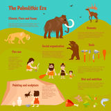 Stone Age Flat Infographics. With tribe caveman ancient animals weapon activities and food vector illustration Stock Photography