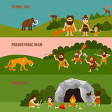 Stone Age Horizontal Banners. With hunting  cavemen cave tribe bonfire and animals in flat style vector illustration Royalty Free Stock Photos