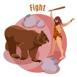 Stone Age Hunting Concept. Stone age hunting isometric concept with fight symbols vector illustration stock illustration