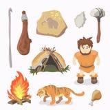 Stone Age icons Primitive man. Cavemen. Neanderthals. Homo sapiens. Royalty Free Stock Image