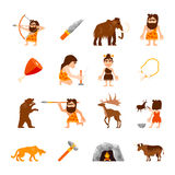 Stone Age Icons Set. Of caveman animals bonfire weapons meat and charm isolated vector illustration Stock Image