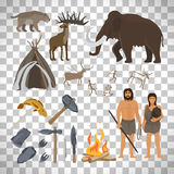 Stone age icons on transparent background vector illustration