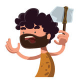 Stone age man holding ancient tool  illustration cartoon character Royalty Free Stock Photo