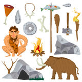 Stone age or Neanderthal vector icons and characters set. Stone age vector flat icons set of Neanderthal man or caveman, ice-age mammoth, primitive work and Stock Photo