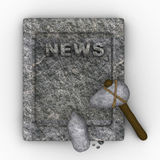 Stone age newspaper. Funny illustration depicting a stone age newspaper carved in rock Royalty Free Stock Images