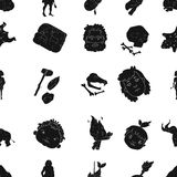 Stone age pattern icons in black style. Big collection of stone age vector symbol stock illustration Royalty Free Stock Photography
