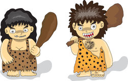 Stone Age people. Cartoon Drawing in Illustrator Royalty Free Stock Photo