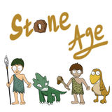 Stone age people cartoon Stock Images