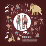 Stone Age People Icons Set Stock Photography