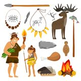 Stone age people and tools Royalty Free Stock Images