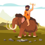 Stone age primitive man riding mammoth. And saluting with bone in his hand. Flat style vector illustration isolated on white background Stock Photo