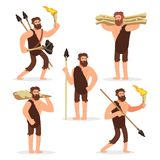 Stone age primitive men cartoon character set royalty free illustration