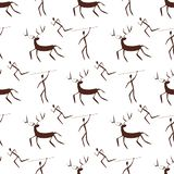 Stone age primitive painting seamless pattern background. Man and deer. Vector illustration royalty free illustration