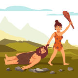 Stone age primitive woman drawing bearded man. And saluting with wooden club. Woman power. Flat style vector illustration isolated on white background stock illustration