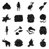 Stone age set icons in black style. Big collection of stone age vector symbol stock illustration Stock Images
