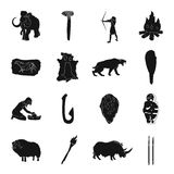 Stone age set icons in black style. Big collection of stone age vector symbol stock illustration Royalty Free Stock Photo