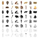 Stone age set icons in cartoon style. Big collection of stone age vector symbol stock illustration Stock Photos