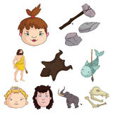 Stone age set icons in cartoon style. Big collection of stone age vector symbol stock illustration Royalty Free Stock Images