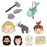 Stone age set icons in cartoon style. Big collection of stone age vector symbol stock illustration Stock Photo