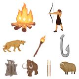 Stone age set icons in cartoon style. Big collection of stone age vector symbol stock illustration. Stone age set icons in cartoon design. Big collection of Royalty Free Stock Images