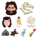 Stone age set icons in cartoon style. Big collection of stone age vector symbol stock illustration Stock Image