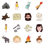 Stone age set icons in cartoon style. Big collection of stone age vector symbol stock illustration Stock Images