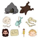 Stone age set icons in cartoon style.   Stock Image