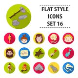 Stone age set icons in flat style. Big collection of stone age vector symbol stock illustration Stock Photos