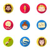 Stone age set icons in flat style. Big collection of stone age symbol Royalty Free Stock Photos