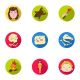 Stone age set icons in flat style. Big collection of stone age vector symbol Stock Photo