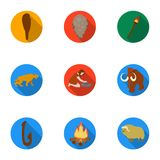 Stone age set icons in flat style. Big collection of stone age vector symbol Stock Photography