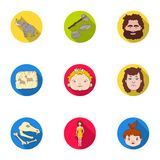 Stone age set icons in flat style. Big collection of stone age vector symbol  Royalty Free Stock Images