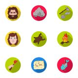 Stone age set icons in flat style. Big collection of stone age vector symbol  Stock Photos