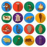 Stone age set icons in flat style. Big collection of stone age vector symbol stock illustration Royalty Free Stock Photos