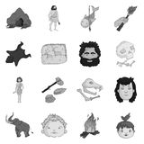 Stone age set icons in monochrome style. Big collection of stone age vector symbol stock illustration Royalty Free Stock Images
