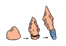 Stone Age tools gadget  cartoon illustration Stock Photos