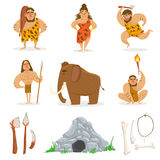 Stone Age Tribe People And Related Objects. Cute Cartoon Childish Style Illustrations Isolated On White Background Royalty Free Stock Photography
