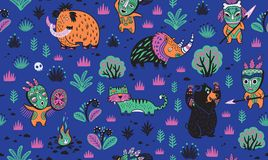 Stone Age vector pattern in blue colors Stock Photography