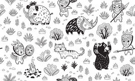Stone Age vector pattern in outline Stock Images