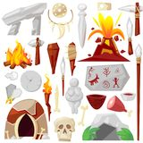 Stone age vector primeval neanderthal stoned weapon axe and prehistoric primitive spear of ancient caveman illustration. Of cave paintings and volcano or Stock Photo