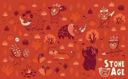 Stone Age vector set Royalty Free Stock Photography