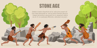 Stone age war primitive men tribes fighting.   Royalty Free Stock Photography