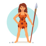 Stone age woman in animal hide pelt. With wooden spear. Amazon or barbarian female. Flat style vector illustration isolated on white background Stock Photography