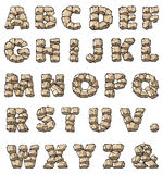 Stone alphabet. 26 letters, ampersand, and dot, raster illustration Stock Photography
