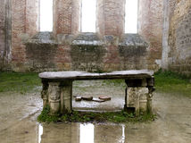 Stone altar. Of the San Galgano Cistercian abbey near Siena, Tuscany Stock Photos