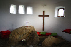 Stone altar and crosses in Ffald-y-Brenin chapel Stock Photos