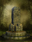 Stone altar in a forest. Old fantasy altar in a foggy forest Stock Photo