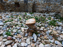 Stone altar. In the ruins of the Háromhegyi Paulines church and monastery (Hungary Royalty Free Stock Photography