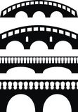 Stone ancient bridge, balustrade. Set of ancient stone bridge black  silhouettes, balustrade - isolated vector  illustration on white background Stock Photo
